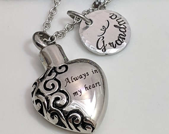 Urn Jewelry - Ash Necklace - Personalized Cremation Urn - Silver Heart Design Urn