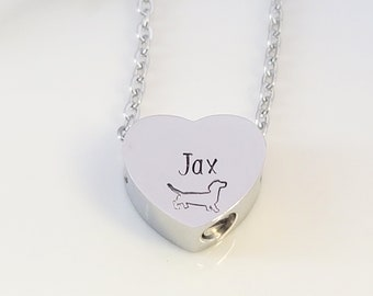 Pet Urn, Pet Memorial, Dog Memorial, Dachsund Dog, Urn Necklace, Dog Loss Gift, Cremation Urn, Personalized, Pet Memorial Gift