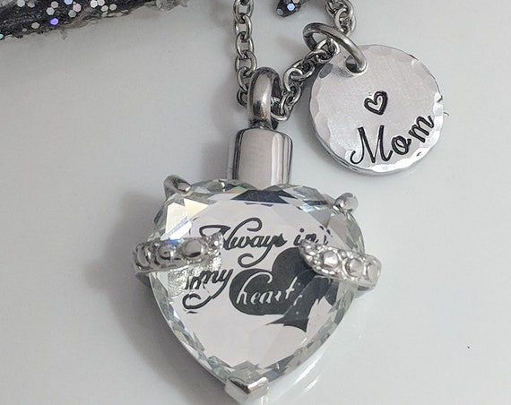 Ashes Necklace-Ash Keepsake-Urn Jewelry-Necklace for Ashes-Always In My Heart Urn-Personalized-Urn for Ashes-Urn Necklace-Cremation Jewelry