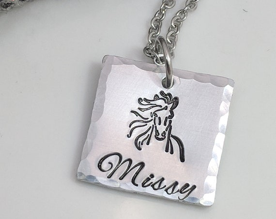 Horse Lover Jewelry- Horse Necklace- Personalized- Gift for Horse Trainer- Horse Riding- Name Necklace- Gift for Her- Horse Lover Gifts