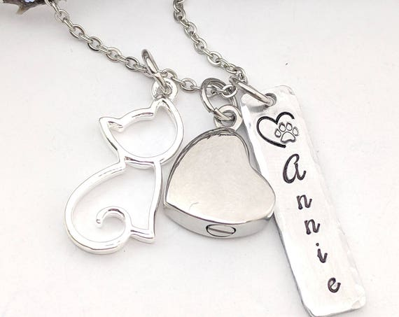 Heart Urn - Personalized Urn Necklace - Sympathy Gift - Pet Remembrance - Cat Love Necklace - Loss of Cat Urn - Remembrance Keepsake - Gift