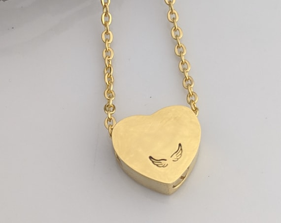 Gold Heart Urn -  Cremation Jewelry - Ashes Necklace - Angel Wing Keepsake - Sympathy Gift - Slider Heart Urn Necklace