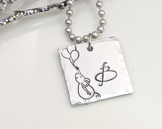 Initial Jewelry - Birthday Gift for Girl - Mouse Necklace - Monogram Jewelry