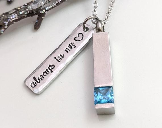 Urn Jewelry - Always In My Heart - Cremation Jewelry - Stainless Steel Urn Vial - Memorial Keepsake