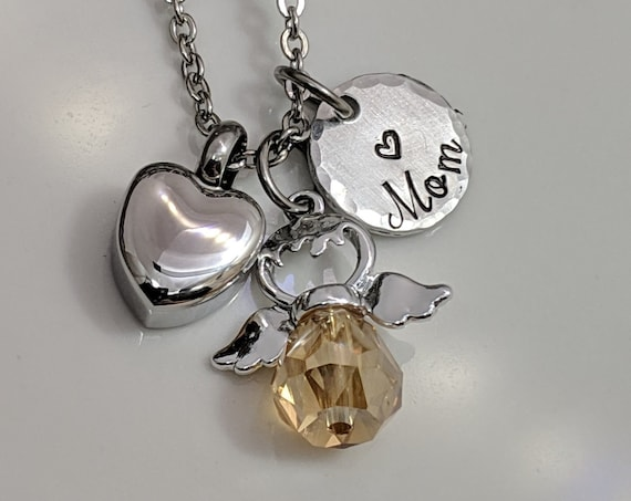 Angel Memorial Necklace - Customized Urn Jewelry - Keepsake Necklace - Small Heart Urn - Memorial Urn