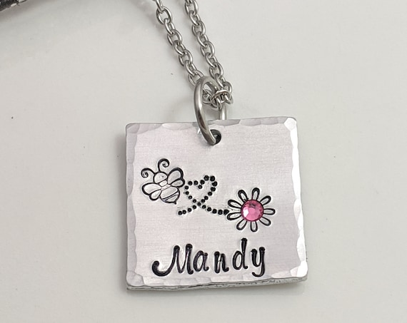 Name Necklace - Birthstone Necklace - Birthstone Gifts - Birthday Present - Gifts for Her - Birthstone Name Necklace - Best Friends Jewelry