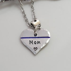 Valentine/'s Gift for Her Thin Blue Line Necklace Police Officer Jewelry Police Wife Necklace