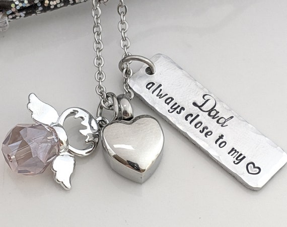 Personalized Urn - Always in my Heart - Angel Necklace - Silver Heart Urn - Customized Cremation Jewelry - Urn for Ashes - Loss of Loved One