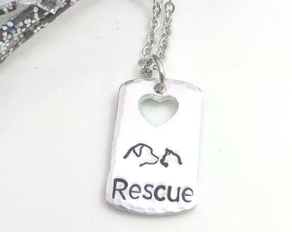 Rescue Jewelry-Dog Rescue-Cat Rescue-Pet Rescue-Rescued Pet Necklace-Love My Rescue-Pet Adoption-Customizable Jewelry-Hand Stamped Metal