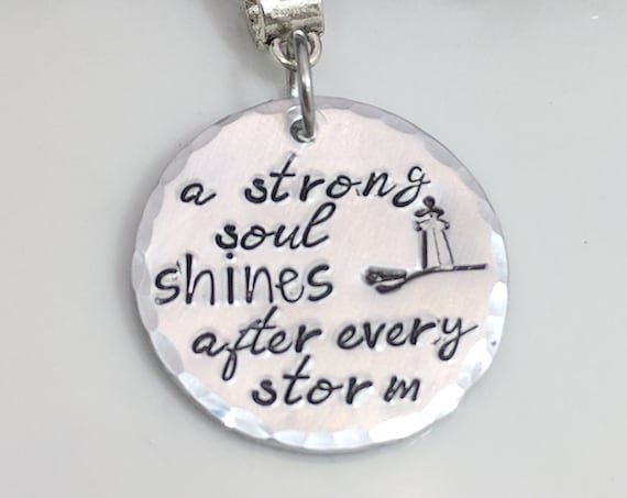 A Strong Soul Shines After Every Storm - Lighthouse Jewelry - Inspirational Necklace - Message Jewelry - Lighthouse Necklace - Strength Gift