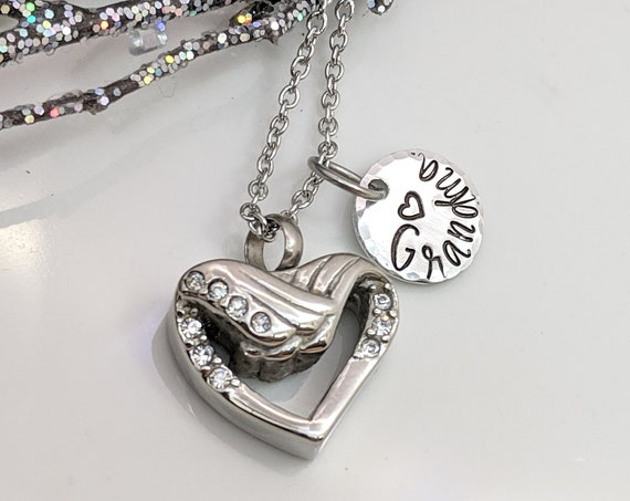 Heart Cremation Urn - Customized Name Jewelry - Memorial Urn - Urn for Ashes