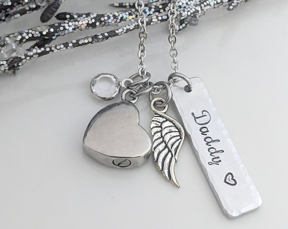 Personalized Urn Necklace - Silver Heart Urn - Keepsake Jewelry - Loss Necklace