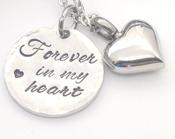 Forever in my Heart-Urn Necklace-Silver Heart Urn-Cremation Necklace-Small Heart Urn-Urn for Ashes-Ashes Necklace-Memorial Keepsake-Sympathy
