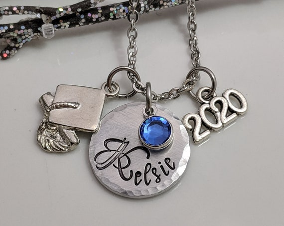 Graduate Gift-Personalized Graduation Necklace-Hand Stamped Jewelry-Class of 2020-Handmade Graduation Gift-Graduate Gift-Grad Gift-Name