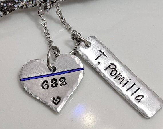 Thin Blue Line Necklace- Personalized Police Necklace- Gift for Police Wife- Gift for Police Mom- Police Badge Jewelry- Policeman Jewelry