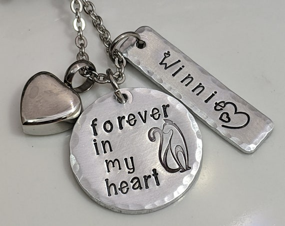 Personalized Cat Loss Jewelry - Loss of Pet - Cat Memorial Gift - Pet Urn Necklace
