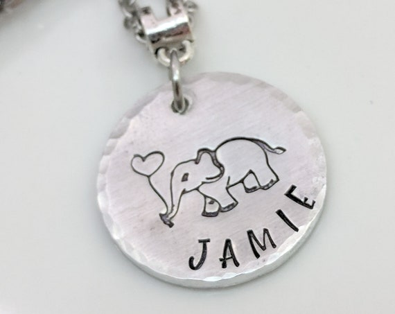 Personalized Elephant Necklace-Name Jewelry-Best Friends Gift-Birthday Gift-Elephant Lover-Handmade Necklace-Gift for Her-Elephant Gifts