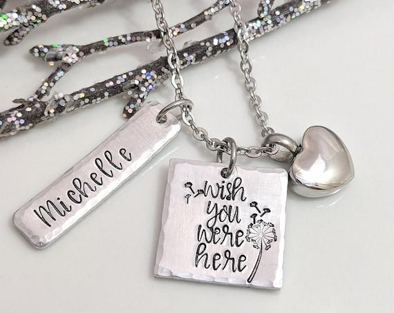 Urn Keepsake Necklace - Cremation Jewelry - Wish You Were Here - Heart Urn
