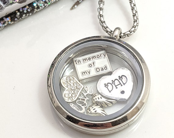 Ready to Ship - Loss of Dad - Father Remembrance - In Memory of Dad - Memorial Necklace - Father Memorial Locket