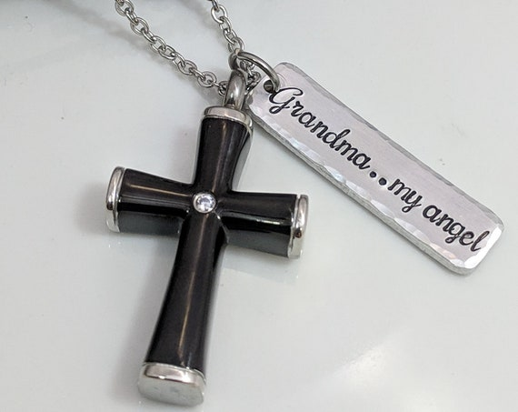 My Angel-Cross Urn-Urn Jewelry-Cremation Necklace-Urn for Ashes-Black Cross Urn-Keepsake Jewelry-Cremation Jewelry-In Memory Of Jewelry