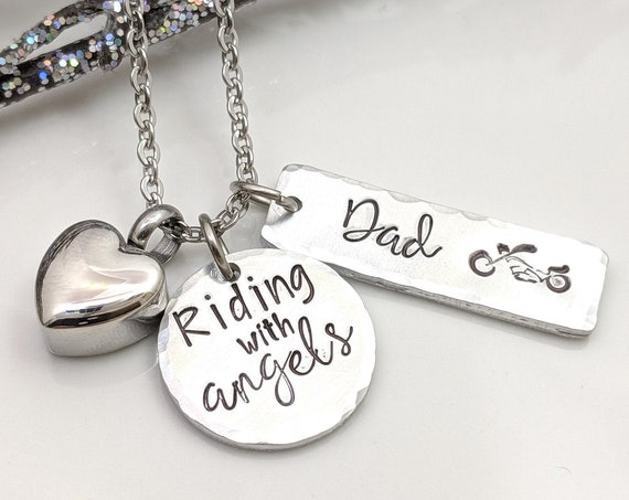 Riding With Angels - Motorcycle Memorial - Silver Heart Urn - Personalized Cremation Urn - Keepsake Jewelry - In Memory Of