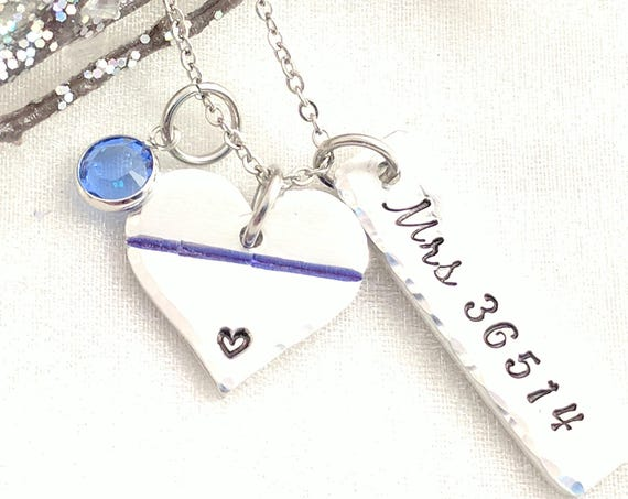 Christmas Gift for Police Wife-Christmas Gift for Police Mom-Thin Blue Line Necklace-Personalized Police Necklace-Police Badge Jewelry