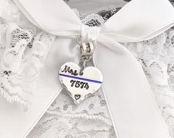 Police Wedding Garter-Thin Blue Line-Police Garter-Police Wife To Be-Officer Wedding Garter-Personalized-Badge Number Garter-Bouquet Charm