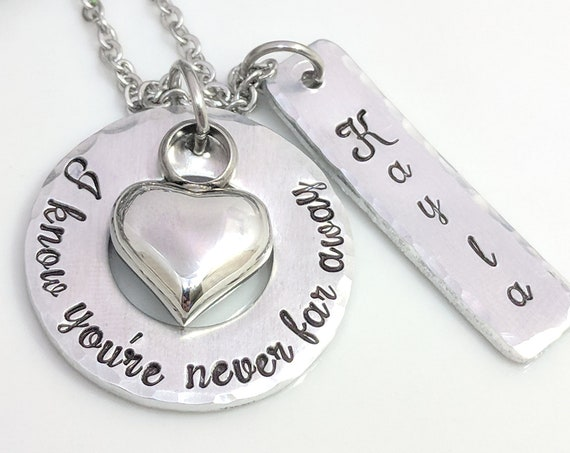 Heart Urn-Never Far Away-Personalized Urn Jewelry-Ashes Necklace-Memorial Urn-Loss Jewelry-Death of Loved One-ExquisiteStampDesign Original