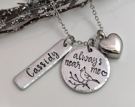Always Near Me - Heart Urn - Cardinal Memorial - Personalized Urn Necklace - Cremation Jewelry - Urn for Ashes - Sympathy Gift