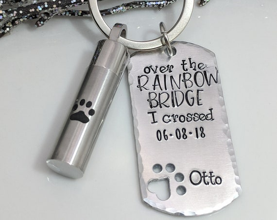 Pet Loss- Rainbow Bridge- Cremation Urn- Dog Loss Gift- Furbaby Loss- Personalized- Pawprint Urn Vial- Pet Ashes Holder- Dog Ashes Keepsake