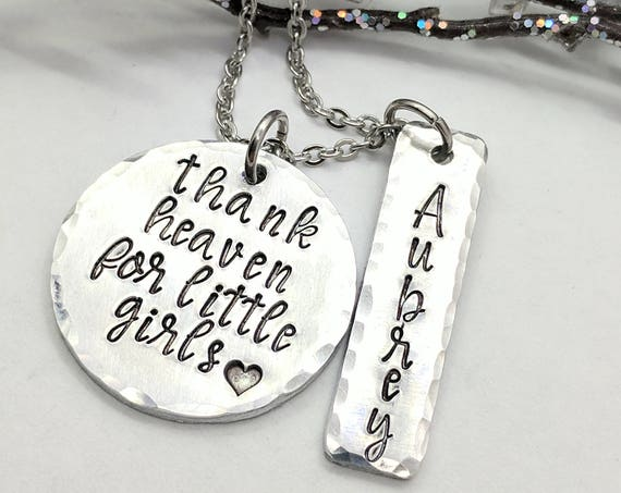 Thank Heaven for Little Girls-Personalized-Customized Name Necklace-Gift for Grandma-Gift for Mom-Kids Name Necklace-Mommy Necklace-Name Bar