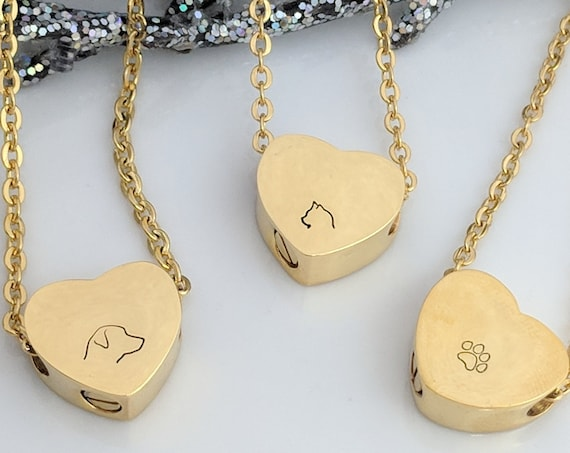Gold Heart Urn - Pet Loss - Dog Loss - Cat Loss - Pawprint - Pet Ash Holder - Pet Keepsake - Urn for Ashes - Memorial Jewelry -  Necklace