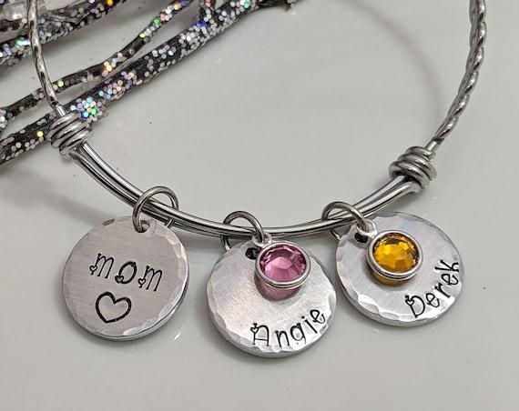 Personalized Bangle Bracelet - Hand Stamped Bracelet - Personalized Charm - Adjustable Bangle Bracelet - Name Disc with Swarovski Birthstone