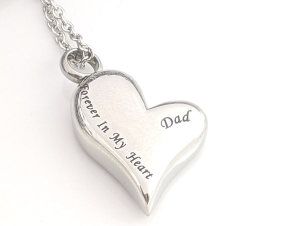 Always In My Heart Urn - Stainless Steel Heart Urn - Loss of Dad - Father Memorial Keepsake