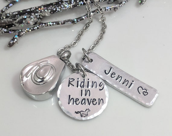 Cowboy Hat Urn- Cowgirl Hat Urn- Riding in Heaven- Urn Necklace- Cremation Jewelry- Ashes Necklace- Horse Lover- Urn Keepsake- Memorial Gift