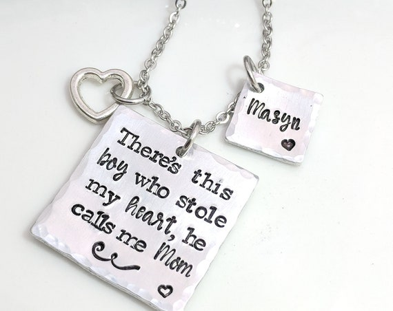 Mom Gift-Grandmother Gift-Grandma Jewelry-There's this Boy-Personalized Gift for Mom-Mom Necklace-Name Necklace-Christmas Gift for Mom-Nana