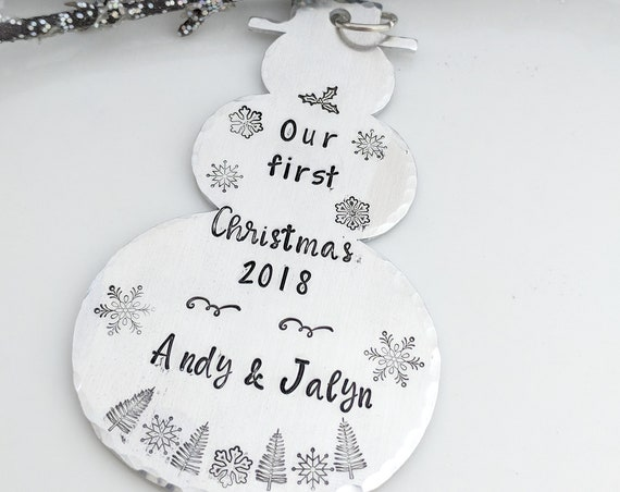 First Christmas Ornament- Personalized- Handmade- 2018 Holidays- Christmas Gifts- Newlyweds First Holiday- Snowman Ornament- Customized Gift