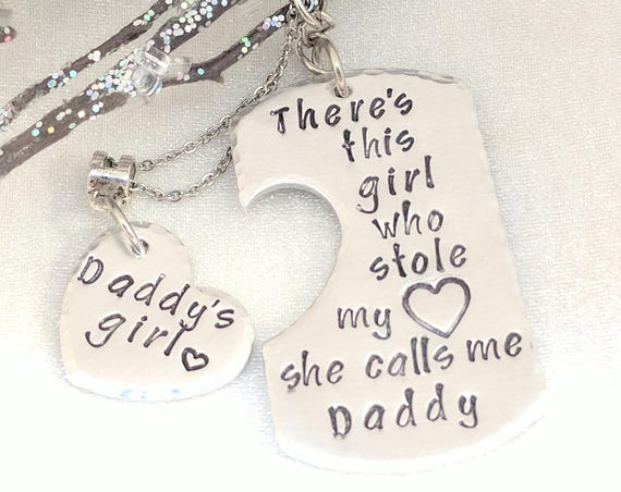There's This Girl Who Stole My Heart-Keychain for Daddy-Daddy Keychain-Daughter Necklace-Daddy's Girl-Father's Day Gifts-Dad Daughter Gift