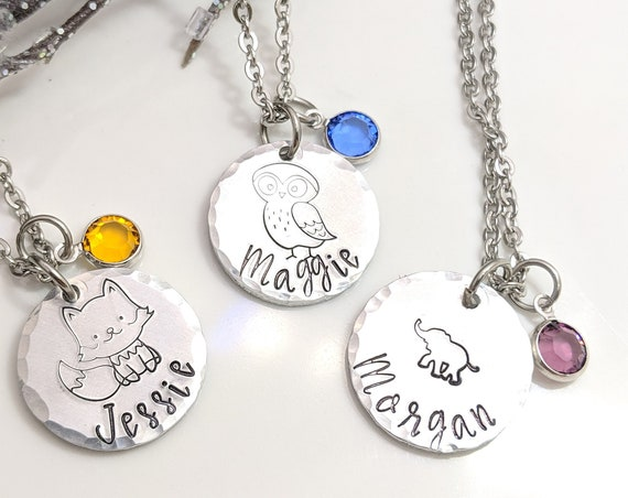 Name Necklace - Cute Animal Jewelry - Birthstone Necklace - Gift for Her