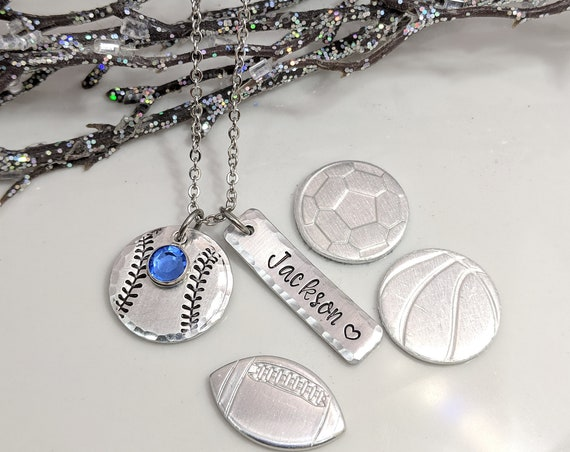 Sports Necklace-Football Jewelry-Baseball Necklace-Soccer Necklace-Basketball Necklace-Soccer Jewelry-Gift for Mom-Coach Gifts-Sports