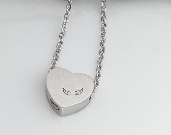 Stainless Steel Heart Urn - Angel Wing Memorial - Urn Jewelry - Remembrance Keepsake