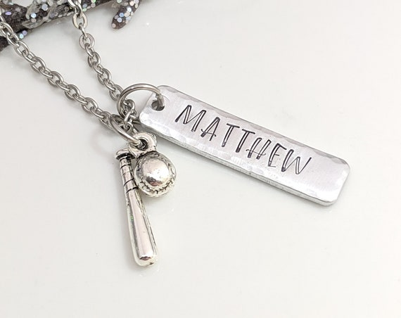 Personalized Baseball Necklace - Baseball Mom Jewelry  - Softball Player Pendant - Customized Player Necklace