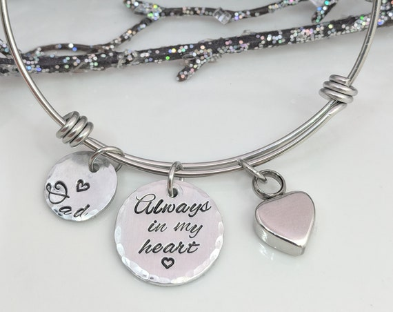 Always In My Heart Bracelet-Personalized Urn Bracelet-Loss of Dad-Ready To Ship-Ashes Bracelet-Cremation Heart Bracelet-In Of Memory Jewelry