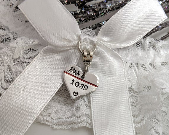 Fireman Wedding - Customized Garter - Thin Red Line - Badge Number Garter - Bouquet Charm - Bridal Garter - Garter For Bride