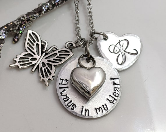 Always In My Heart - Silver Heart Urn - Memorial Keepsake - Cremation Jewelry - Urn Necklace - Butterfly Charm Jewelry - Ash Necklace