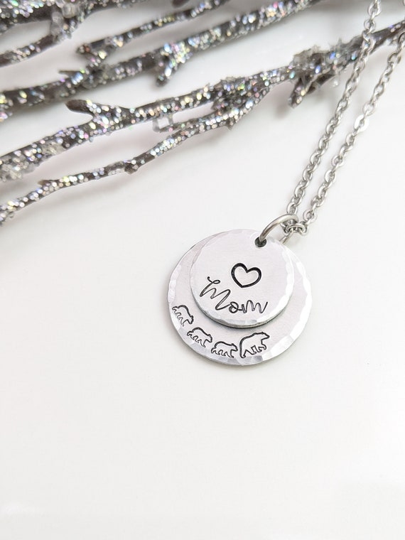 Bear Necklace - Mom Necklace - Mom and Baby - Jewelry for Mom - Bear Lover Jewelry - Gift For Mom - Gift from Kids - Stamped Jewelry