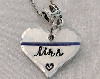 Police Wife Jewelry - Thin Blue Line Jewelry - MRS Police Wife Necklace - Gift for Cop Wife - LEO Wife Necklace - Policeman's Wife Necklace