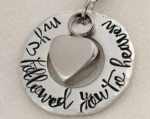 cremation jewelry-urn necklace-ashes necklace-my heart followed you to heaven-urn locket-loss of loved one-personalized urn-heart urn-gift