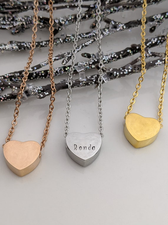 Personalized Heart Necklace - Hand Stamped Jewelry - Dainty Heart - Gold Heart - Rose Gold Heart - Silver Heart - Birthday Gift - I Love You