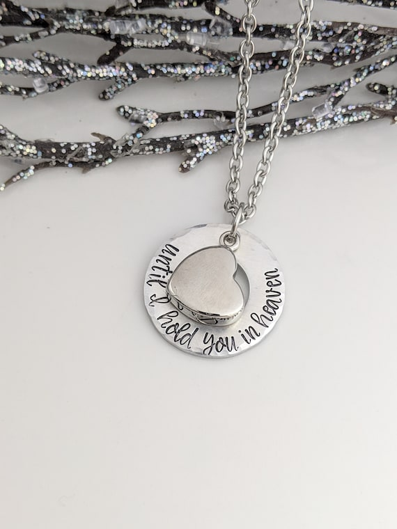 Memorial Jewelry - Cremation Jewelry - Silver Heart Urn - Until I Hold You in Heaven - Keepsake Urn - Urn for Ashes - Urn Necklace